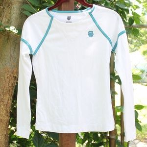 K-Swiss Active Long Sleeve Top White Blue Stripes